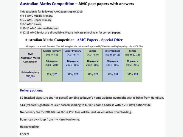 Australian Maths Competition – AMC 2004 - 2019 papers with answers