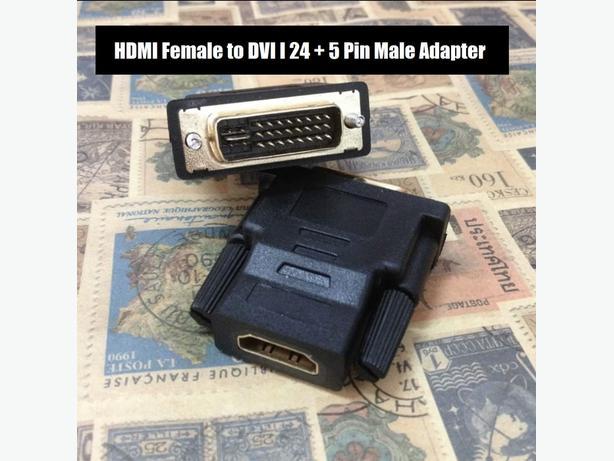HDMI Female to DVI 24+5 Male Adapter Black