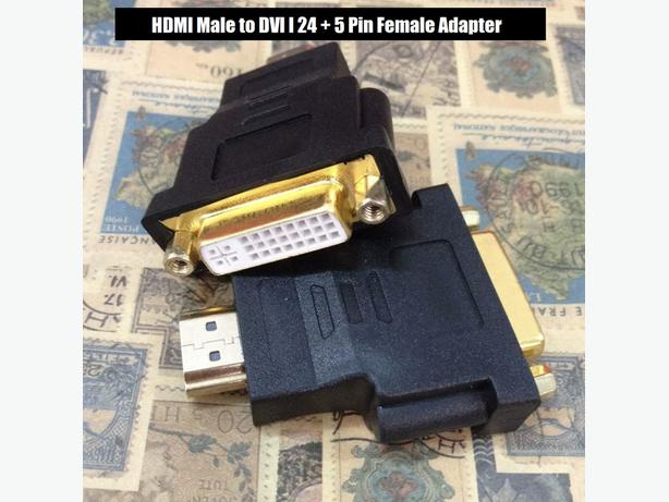 HDMI Male to DVI I 24+5 Pin Female Adapter Black