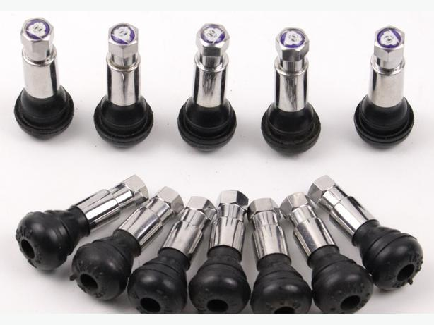 5pcs TR413C Chrome Snap-In Tyre Valve Stems with Pure Copper Core Caps Included