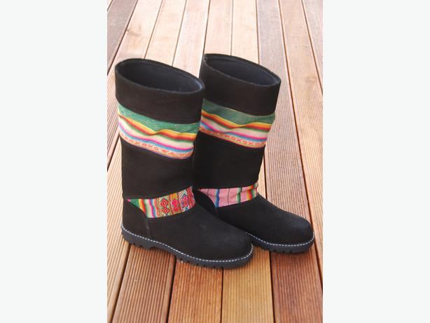 Fair Trade, Handmade Peruvian Boots with Traditional Weaving Inlay