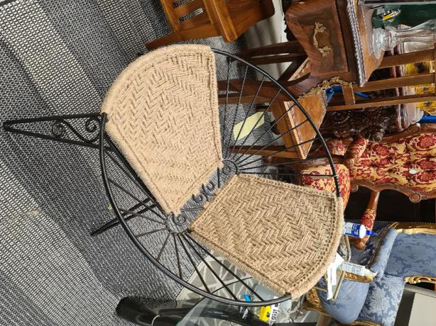 mid century chair with jute