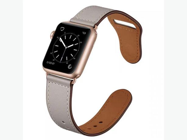 Premium Quality PU Faux Leather Strap Band for Apple Watch 38/40mm Grey