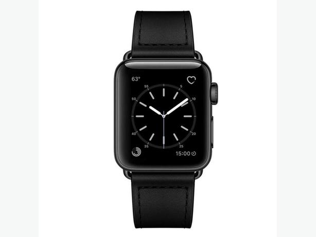 Premium Quality PU Faux Leather Strap Band for Apple Watch 42/44mm Black