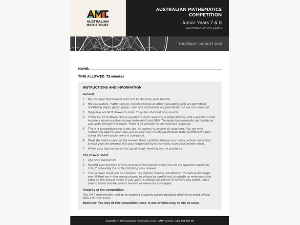 Australian Maths Competition – AMC 2004 - 2020 papers with answers