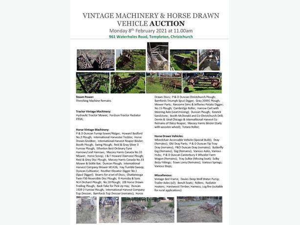 Vintage Machinery & Horse Drawn Vehicle Auction