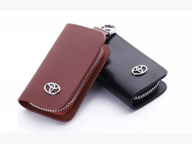Toyota Car Smart Keyless Remote Key Leather Wallet Pouch Black and Brown