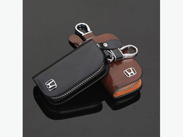 Honda Car Smart Keyless Remote Key Leather Wallet Pouch Black and Brown