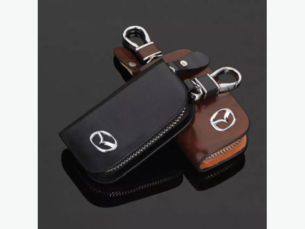 Mazda Car Smart Keyless Remote Key Leather Wallet Pouch Black and Brown