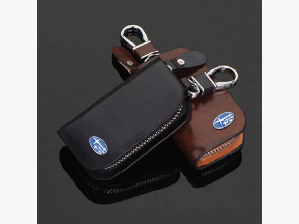 Subaru Car Smart Keyless Remote Key Leather Wallet Pouch Black and Brown