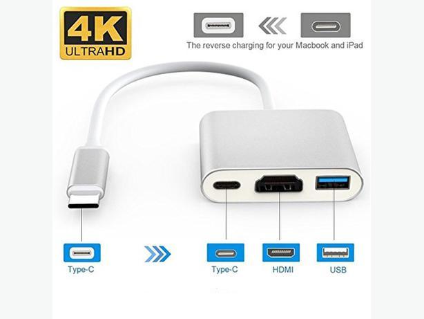 USB Type-C to HDMI / USB 3.0 / Type-C AV Display Adapter Silver
