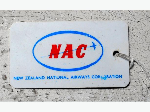 NZ airline memorabilia NAC permanent ID tag 1960's.