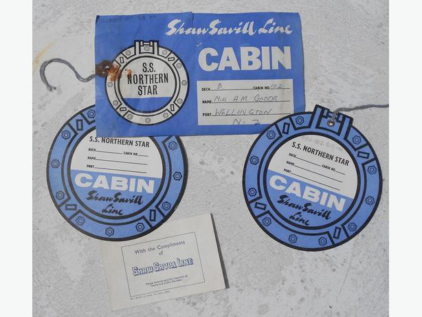 NZ shipping Shaw Savill Line SS Northern Star cabin baggage label ephemera c1960