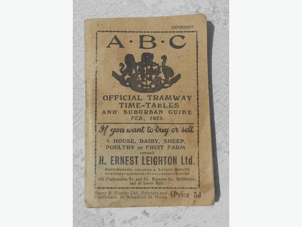 Wellington tramways ABC timetable and suburban guide for 1929.