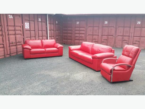Red, Leather Hunter Furniture lounge suite and Lazyboy recliner ...