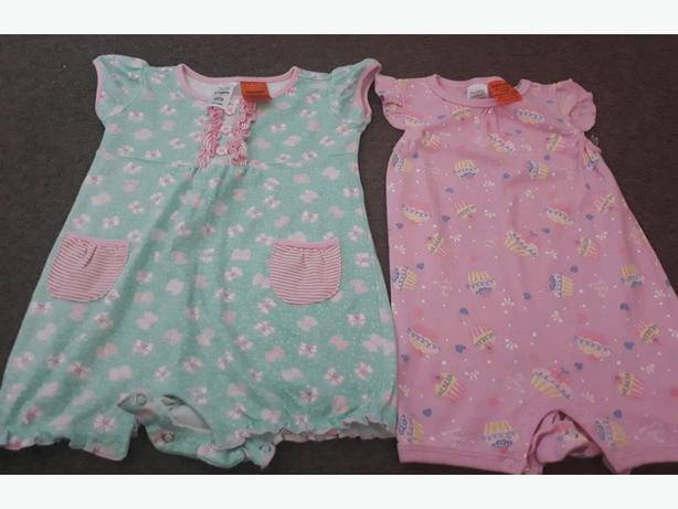 2 Near New Rompers girls cupcake + butterfly 12-18 Months
