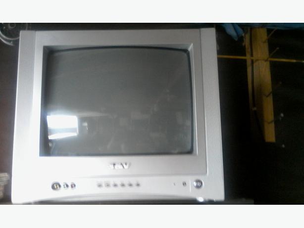Tv set, satellite dish, freeview.