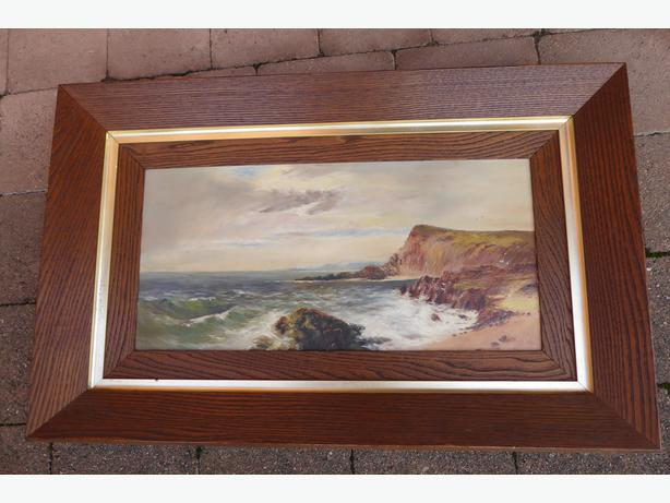 Oak framed oil painting. Sea and Cliff-scape