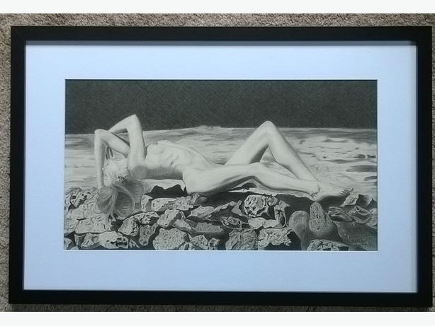 "NUDE ""Moonlight Lady"" Original graphite drawing"