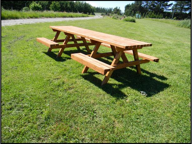 3m Wheelchair Friendly oiled Picnic Table