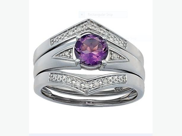 TRIO RING SET WITH AMETHYST AND 12 DIAMONDS sz N