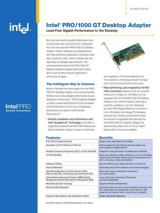 $14 · Intel PRO/1000 GT Network Desktop Adapter, Full Height With 1 x RJ45:  PWLA8391GT