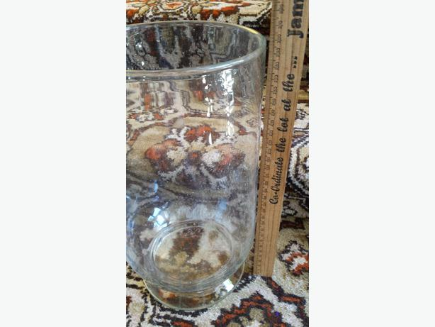 large glass vase and plant pots