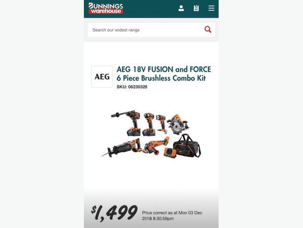  Log In needed $999 · AEG 18V 6 0Ah 6 Piece Brushless Pro Power Tool Combo  Kit with FUSION & Force