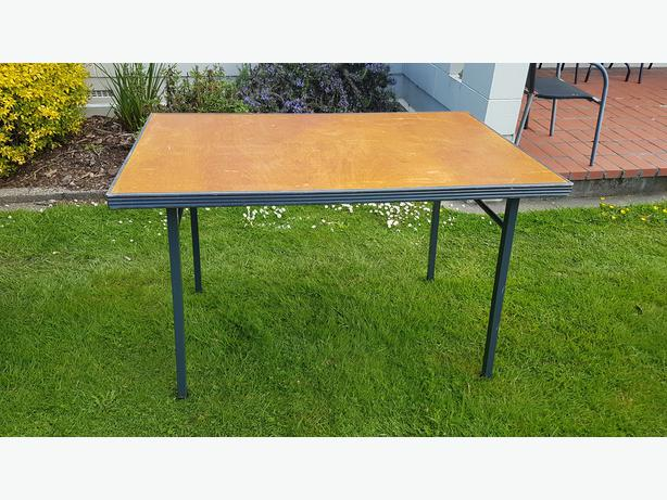 TRESTLE TABLE-wooden top & steel legs