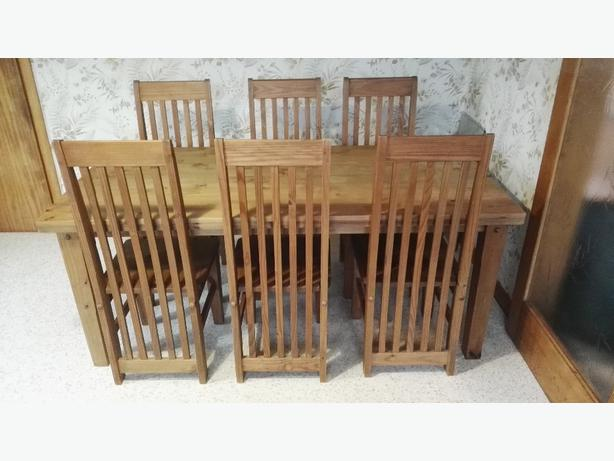 Solid Pine Table + 6 chairs